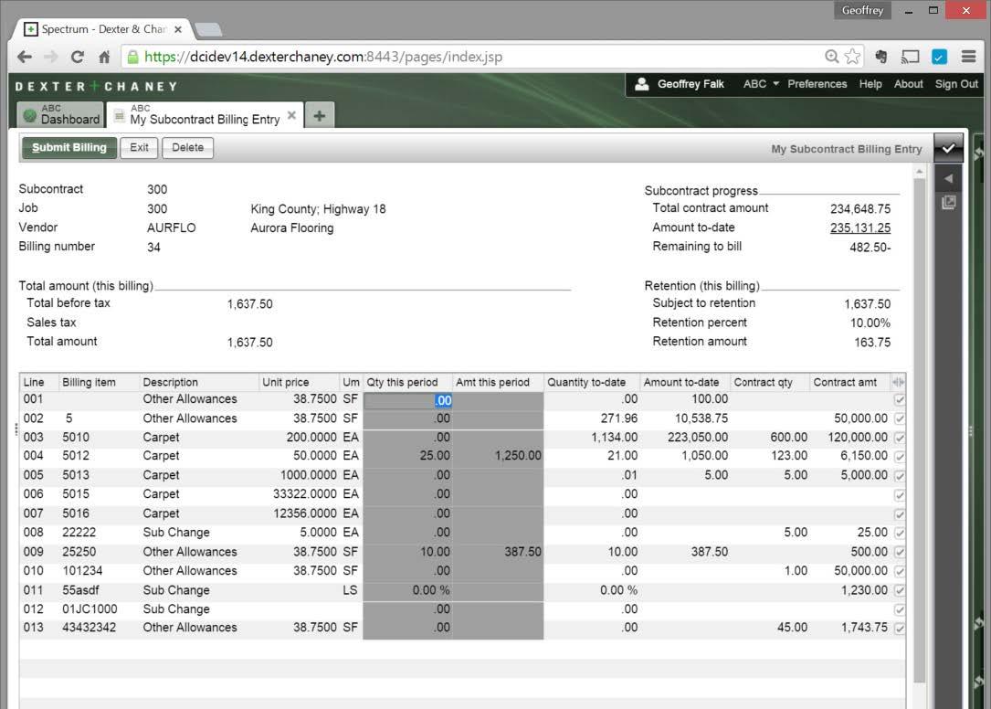 Screenshot - Subcontract Kiosk Billing Entry