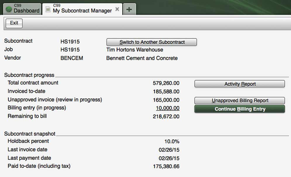 Screenshot - Subcontract Manager